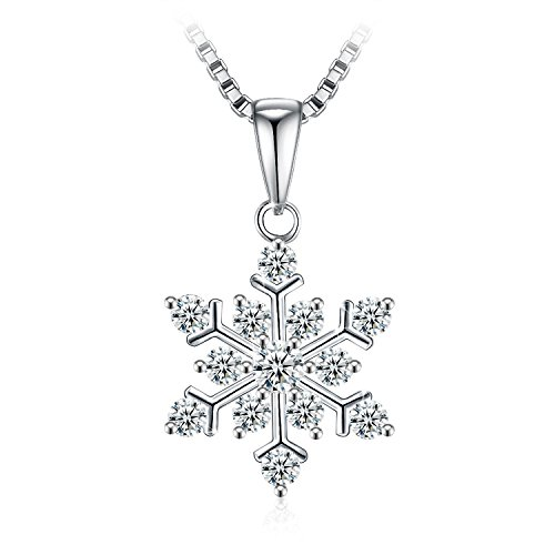 Necklace, Christmas Gift with Exquisite Package 925 Sterling Silver Pendant Necklace with 5A CZ J.Rosée Fine Jewelry for Women Snowflake, 18''+ 2 Extender