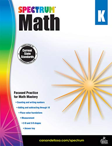 Spectrum - Math Workbook, Kindergarten - Master Counting, Writing Numbers, Basic Addition and Subtraction, Measurement and more, 160 Pages, Ages 5-6