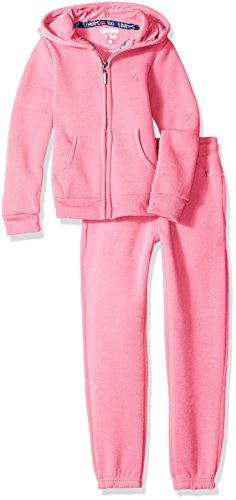 Limited Too Toddler Girls' Fleece Hoodie Jacket and Pant Jog Set, Neon Pink, 4T