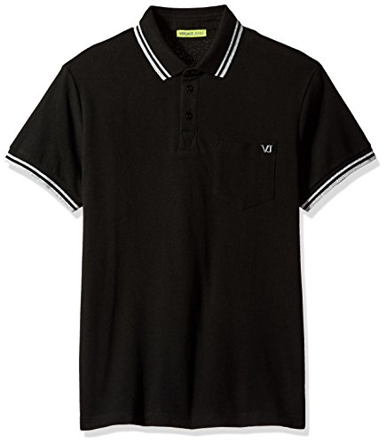 Versace Jeans Men's Tipped Polo With Chest Logo, Nero, 48 - For Versace Cheap