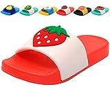 Femizee Colorful Fruit Boys Girls Slide Sandals Summer Beach Pool Bath Slippers (Toddler/Little Kid) Strawberry SHO1225 CN34