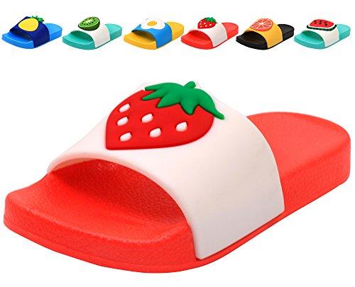 Femizee Colorful Fruit Boys Girls Slide Sandals Summer Beach Pool Bath Slippers (Toddler/Little Kid) Strawberry SHO1225 CN31