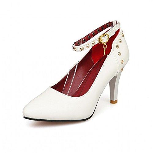 DIMAOL Chaussures Pour Femmes Printemps Automne en Simili Cuir Talon Aiguille Talons Nouveauté Confort Chaussures Boucle Pour les Tenues Noir Blanc Rouge Amande,Blanc US8.5/EU39/UK6.5/CN40