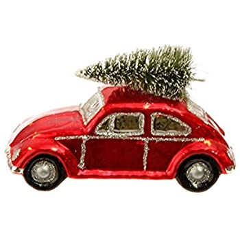 amazoncom vw bug car german glass style christmas ornament  inches home kitchen