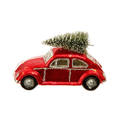 Vw Bug Car German Glass Style Christmas Ornament - 5.5 Inches