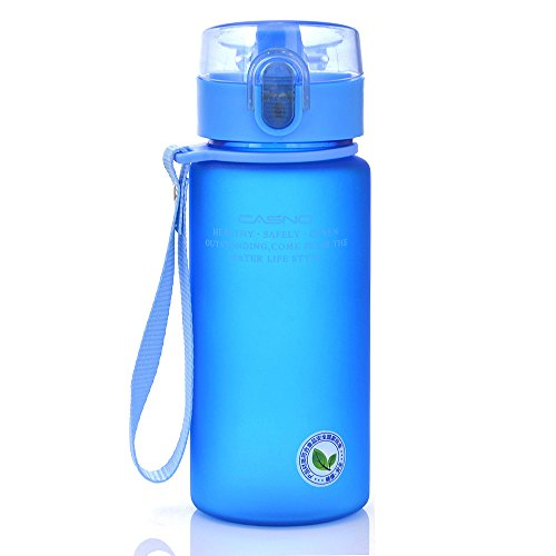 Kids Drink - GTI 14oz Sports Water Bottle, BPA-Free Wide Mouth Drink Bottles For Kids With Leak Proof Flip Top Lid Eco-Friendly Plastic Tritan Sports Bottle for Outdoor Running Camping Gym Yoga Blue
