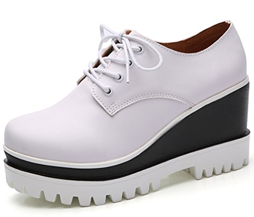 DADAWEN Women's Fashion Lace-up Platform Casual Square-Toe Oxford Shoes White US Size 5 by DADAWEN