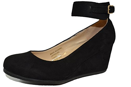 HapHop Women's Almond Toe Ankle Strap Faux Suede Wedge Pump Shoes, Black, 9 M US