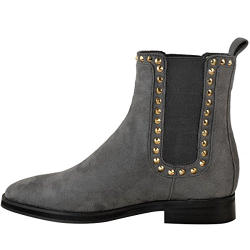 Fashion Thirsty Womens Ladies Flat Black Chelsea Ankle Boots Gold Stud Pull On Comfort Size Grey Faux Suede 0AQ2fuAAs