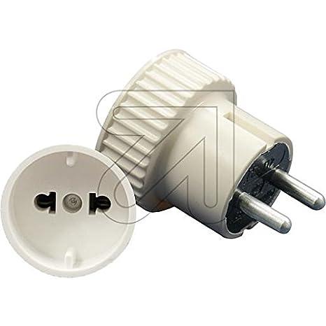Schuko conector Interruptor embrague mando a Arroz estecke Conector Blanco cal: Amazon.es: Electrónica