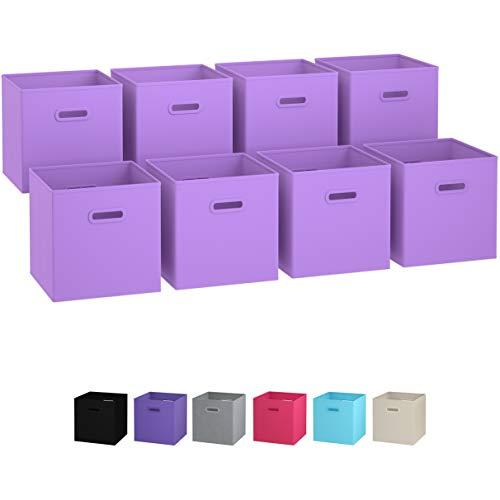 Royexe - Storage Cubes - (Set of 8) Storage Baskets | Features Dual Handles | Cube Storage Bins | Foldable Fabric Closet Shelf Organizer | Drawer Organizers and Storage (Purple) (Set Bins Storage Folding)