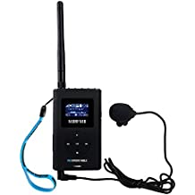 TIVDIO 0.3W Portable FM Transmitter Long Range 76-108MHz MP3 Broadcast Radio Station Power Support TF Card 3.5mm AUX input Wireless Tour Guide Monitoring System for Car Church