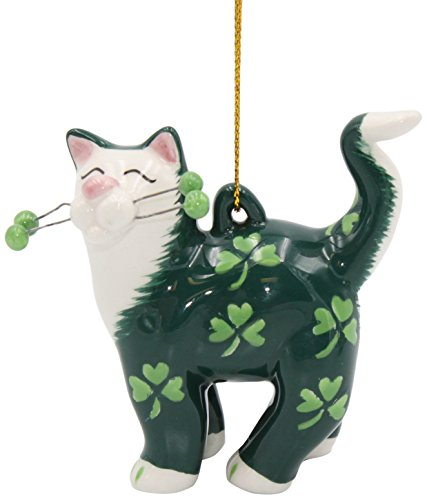 Cosmos Gifts Cat with Shamrock Ornament, Multicolor