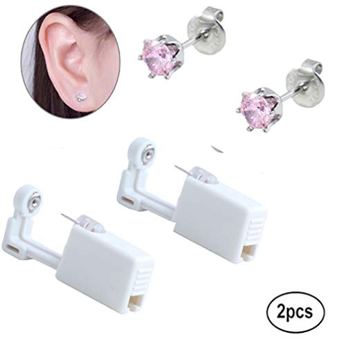 Disposable Ear Piercing Gun,Studs Earrings 3mm 4mm 5mm Mixed Colors No Pain Safety Unit Tool With Ear Stud Asepsis Pierce Kit For Girls Women Men (515 5mm pink crown)