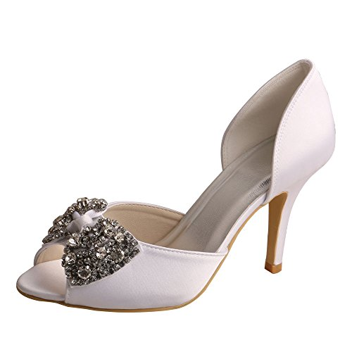 Wedopus Wedding White Toe Bridal Peep Women's Heel Bowtie Rhinestone Shoes Satin MW511 High r1AvqZr
