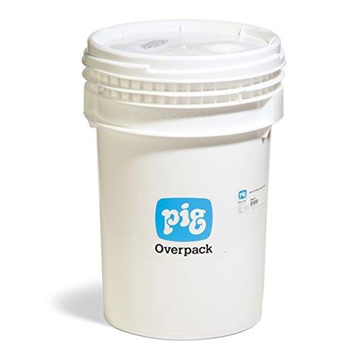 New Pig PAK181 HDPE Overpack Salvage Drum, 10 Gallon Storage Capacity, 12'' Diameter x 20-1/2'' Height, White