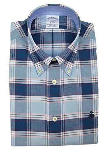(Brooks Brothers Men's Regent Fit Supima Cotton Button Down Shirt Light Blue Multi Plaid (Large))