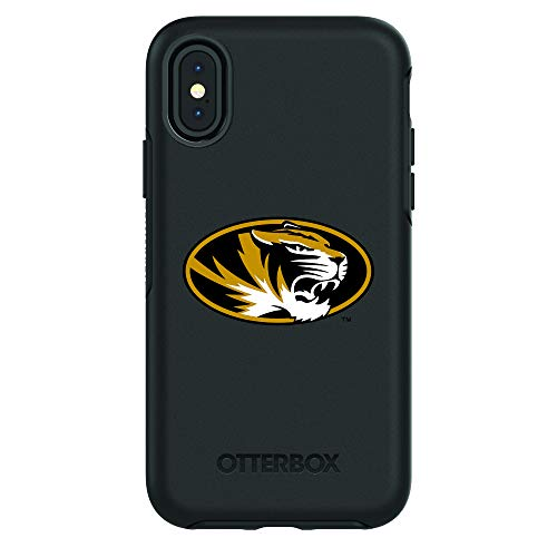 Fan Brander NCAA Black Phone case, Compatible with Apple iPhone X and Apple iPhone Xs and with OtterBox Symmetry Series (Missouri Tigers)
