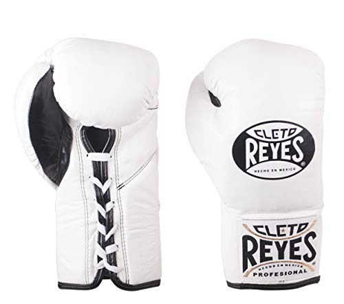 Cleto Reyes Official Professional Fight Boxing Gloves Special Edition, White, 10-Ounce (Pro Fight Gloves)