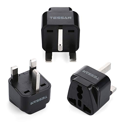 TESSAN Grounded Universal European Travel Plug Adapter USA to UK Travel Prong Adapter Plug Kit for UK (TypeG) - 3 Pack