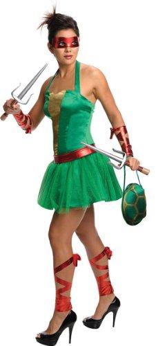 Secret Wishes  Costume Teenage Mutant Ninja Turtles Raphael Adult Female, Green, - Ninja Halloween Costume Turtle Ideas