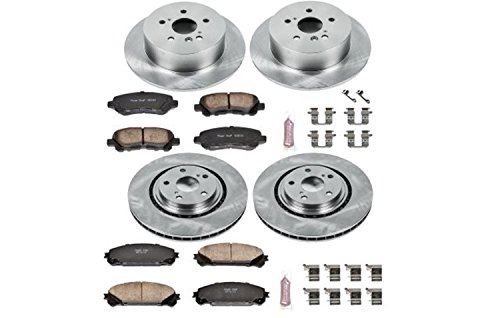 Toyota Highlander Brakes - Power Stop KOE4129 Autospecialty By Power Stop 1-Click Daily Driver Brake Kits Incl. 12.91 in. Front/12.17 in. Rear OE Replacement Rotors w/Z16 Ceramic Scorched Brake Pads Autospecialty By Power Stop 1-Click Daily Driver Brake Kits