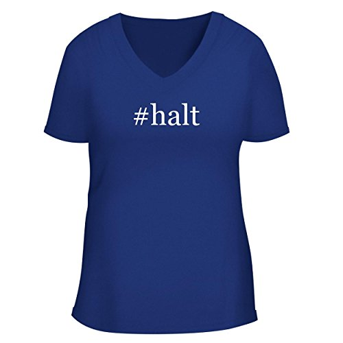 (BH Cool Designs #halt - Cute Women's V Neck Graphic Tee, Blue, XX-Large)