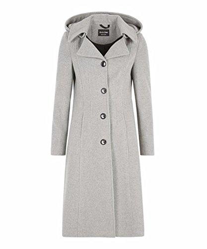 De La Creme Anastasia-Silver Grey Womens Winter Cashmere Hooded Coat Size 12