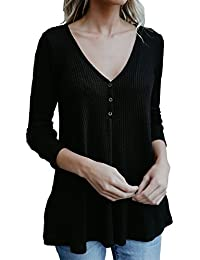 Women's Comfy V Neck Lightweight Sweater Knit Pullover Blouse Tops
