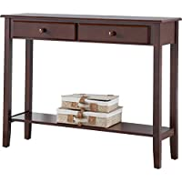 Contemporary Style Clairsville Wooden Console Table in Walnut Finish with 2 Drawers 32 H x 42 W x 12 D