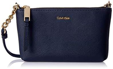 Calvin Klein women Hayden Saffiano Crossbody, Navy, One Size