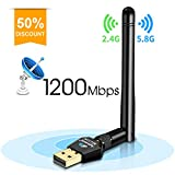Agedate 1200Mbps Wireless USB Wifi Adapter, Wifi Network Adapter for PC/Desktop, Dual Band (2.4G/300Mbps+5.8G/867Mbps) with 5dBi Antenna, Support Win10/8.1/8/7/XP /Mac OS 10.4-10.12 /Linux