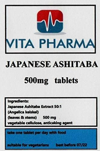 Vita Pharma Japanische Ashitaba 500 mg, 120 Tabletten, 4 Monate Vorrat, hergestellt in Großbritannien
