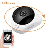 Ebitcam Smart WiFi Panoramic Camera 360° View Angle,6 Preview Models,Baby/Pet Monitor, Home Security Surveillance Camera,Support 2.4ghz WiFi, Night Vision,Two-Way Audio,Motion Detection and Alarm,Loop Record, Multiple People Viewing 960P