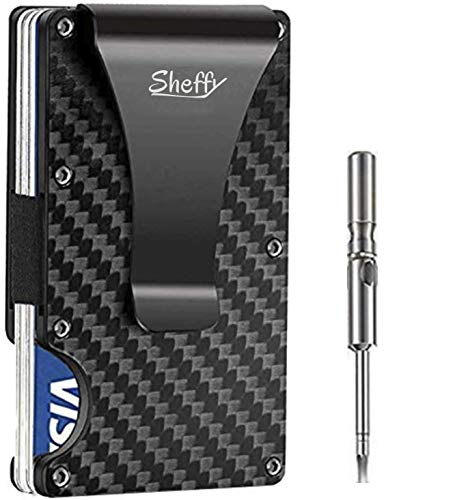 Minimalist Carbon Fiber Wallet - Money Clip - Metal Slim Card Holder Wallets for Men - RFID Blocking Wallet Up to 12 Cards