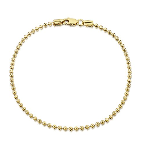 Amberta 18K Gold Plated on 925 Sterling Silver 2 mm Ball Chain Bracelet 7 7.5 in
