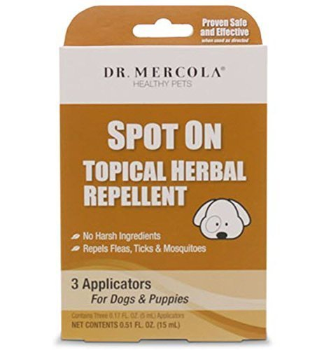 Dr. Mercola Spot On Topical Herbal Flea & Tick Repellent for Dogs, 3 Applicators (3 Month Supply), 100% Natural Formula with Geraniol and Essential Oils, Safe for Humans, Suitable for Puppies (Best Repellent For Ticks On Dogs)