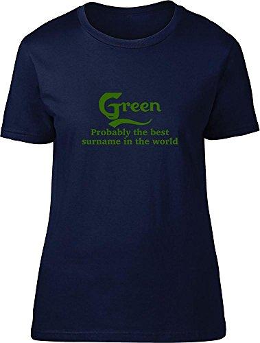 Verde probablemente la mejor apellido en el mundo Ladies T Shirt azul marino