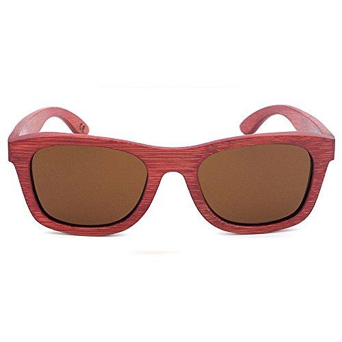 Bambou rétro Soleil Lunettes Polyvalent Utilisation pour en Couleur écologique Marron Rouge et Couleur Femmes extérieure Une Protection Gububi Convient de UV400 quotid Bleu pour Hommes lentille X8wq8t