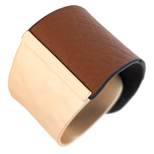 Me Plus Wide Faux Leather Hammered Metal Plate Cuff Bracelet With Snap Closure (Gold)