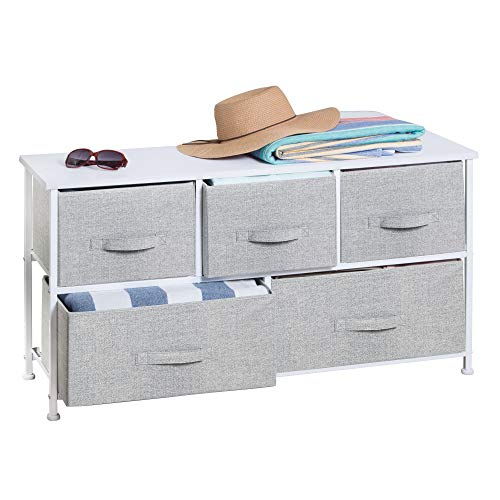 mDesign Extra Wide Dresser Storage Tower  Sturdy Steel Frame Wood Top Easy Pull Fabric Bins  Organizer Unit for Bedroom Hallway Entryway Closets  Textured Print  5 Drawers  Gray/White