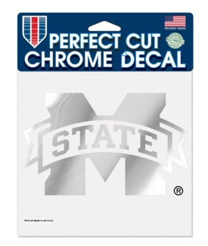"NCAA Mississippi State University Bulldogs 6""x6"" Perfect Cut Chrome Decal"