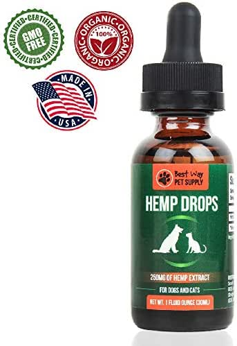 Best Way Pet Supply Hemp Oil  Anxiety Relief for Dogs and Cats Organic Pet Hemp Oil Supports Hip and Joint Health Grown and Made in USA Natural Relief for Pain
