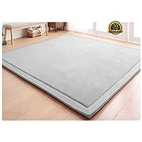 HIGOGOGO Japanese Coral Velvet Carpet Thickness:2cm, Grey Children Play Mat Plush Foam Bedroom Mat Area Rug Yoga Mat, 78 by 118 inch Reversible Living Room Carpet/Children Crawling Mat
