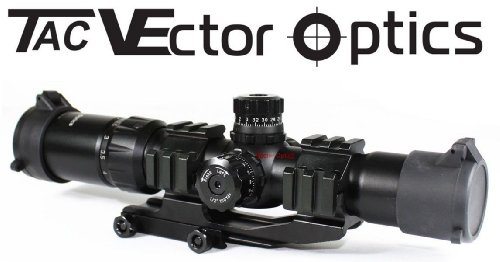 Vector Optics Tactical 1.5-4x30 Tri illuminated Chevron Reticle Scope Riflescope for .223/5.56 Rifles (Rail Scope Tactical Tri)