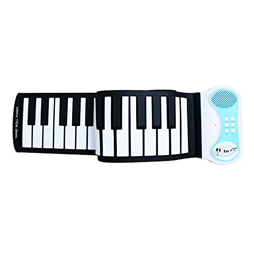 Sanmersen 49 Keys Soft Silicone Flexible Sensitive Children Kids Electronic Piano Keyboard Organ Roll-up with Louder Speaker for Beginner Musical Instruments Educational Toy Gift