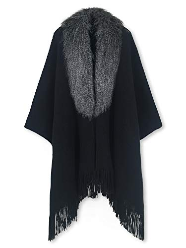 Spicy Sandia Ponchos for Women Faux Fur Collar Cape Fringed Open-Front Blanket Wrap, Black Sale