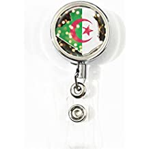 RainbowSky Algeria National Flag Business ID Card Name Tag Custom Retractable Badge Holder Reel with Belt Clip, Silvery, S1260