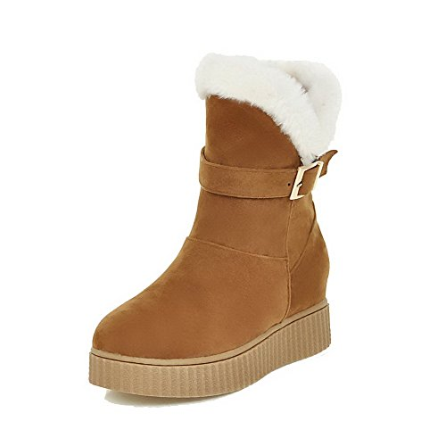Frosted Top On Closed Boots AllhqFashion Kitten Toe Pull Heels Womens Low Yellow Round vqtO5SO