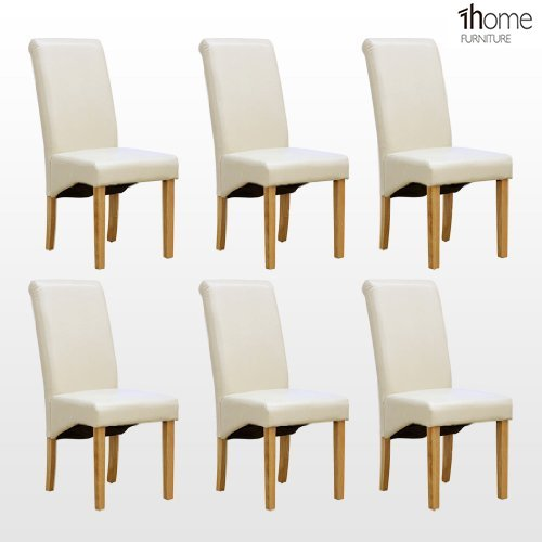 Astonishing 1Home 6 X Leather Ivory Dining Chair W Oak Finish Wood Legs Roll Top High Back Andrewgaddart Wooden Chair Designs For Living Room Andrewgaddartcom